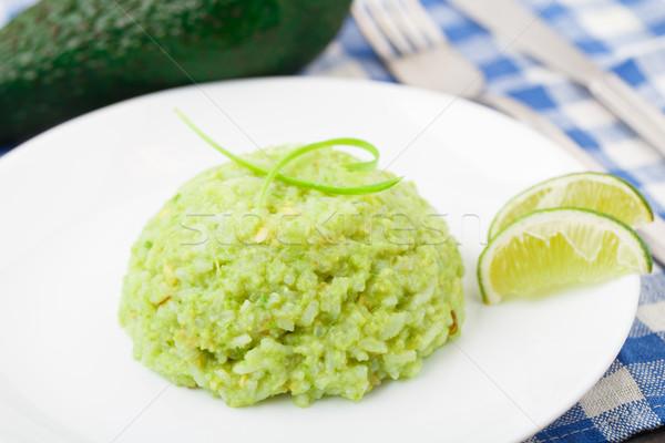 Krémes avokádó rizs egészséges tányér zöld Stock fotó © vankad