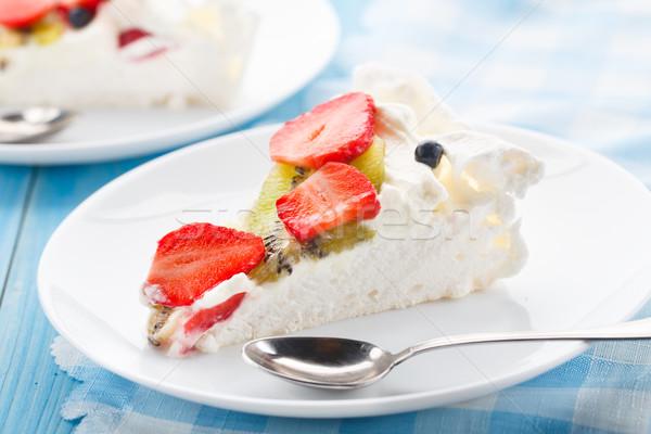 Pavlova cake with strawberry Stock photo © vankad