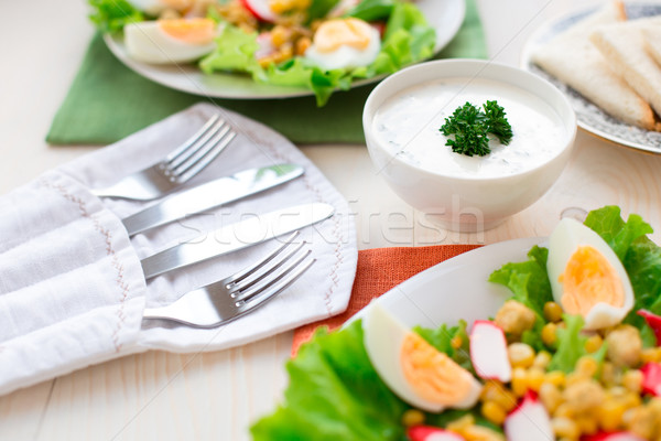 Knife and Fork in linen pouch Stock photo © vankad