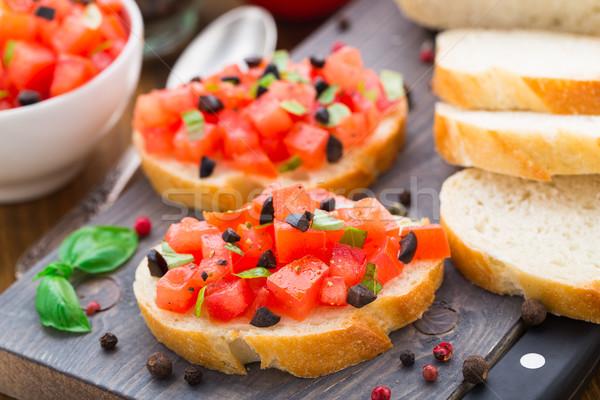 イタリア語 ブルスケッタ トマト バジル オリーブ 食品 ストックフォト © vankad