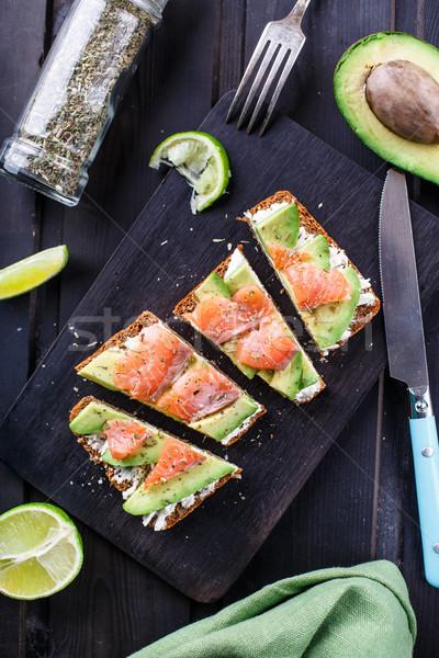 Сток-фото: сэндвич · авокадо · черный · хлеб