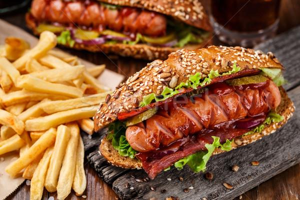 Сток-фото: барбекю · гриль · Hot · Dog · картофель · фри · хлеб · обеда
