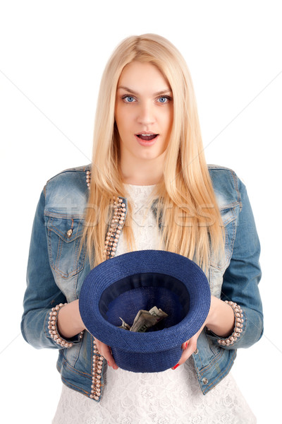 Young woman with hat begging for money Stock photo © vankad