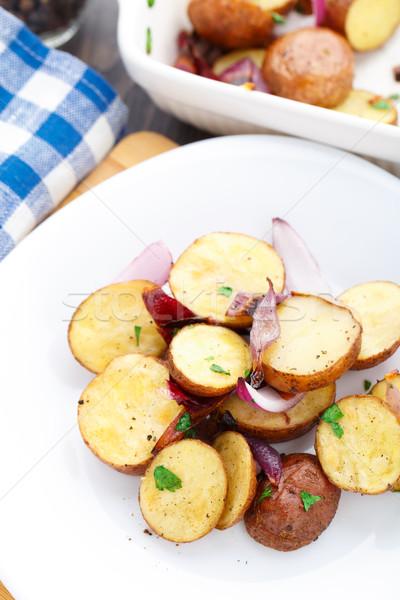 Sült krumpli vöröshagyma finom petrezselyem étel Stock fotó © vankad