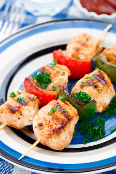 ızgara tavuk maydanoz akşam yemeği plaka et Stok fotoğraf © vankad