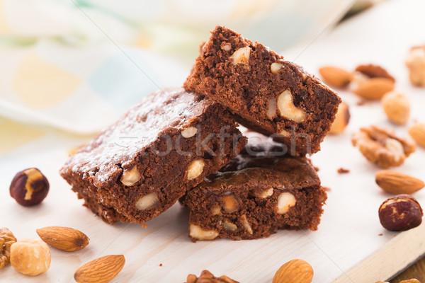 Chocolate brownie with nuts Stock photo © vankad