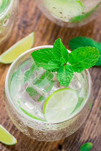 Cocktail with lime and mint Stock photo © vankad