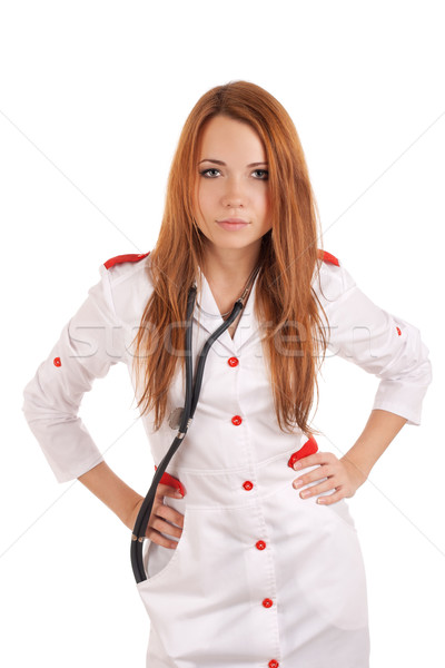 Angry young doctor with hands on hips Stock photo © vankad