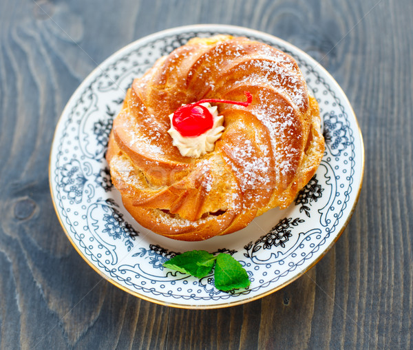 ストックフォト: ケーキ · プレート · 桜 · 表 · 緑