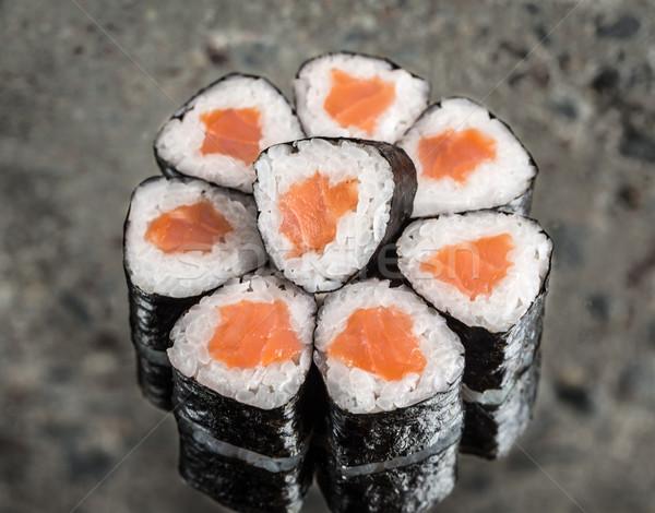 Mini toczyć łososia konkretnych żywności rock Zdjęcia stock © vankad