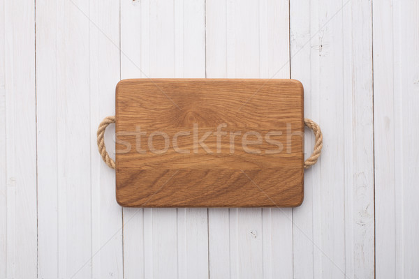 Tabla de cortar blanco mesa mesa de madera textura madera Foto stock © vankad