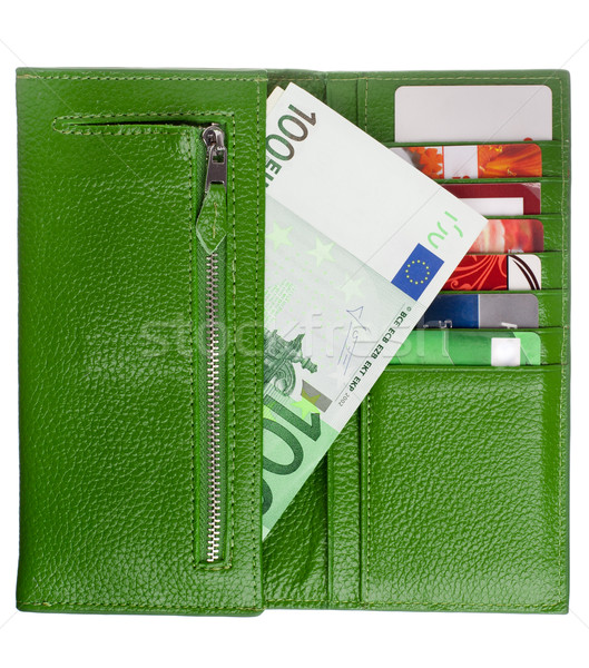 Open verde pelle portafoglio soldi business Foto d'archivio © vankad