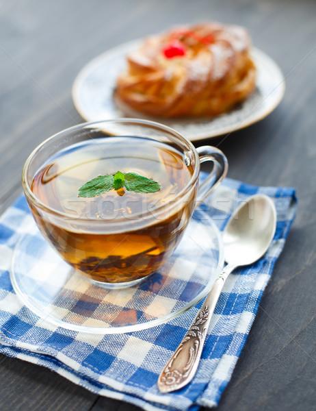 ストックフォト: カップ · 茶 · ケーキ · 黒 · ミント · 葉