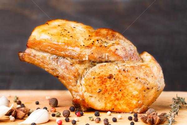 Gebakken varkensvlees rib kotelet vlees Stockfoto © vankad