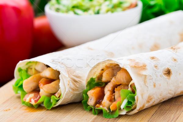 ケバブ 肉のグリル 野菜 鶏 肉 サラダ ストックフォト © vankad