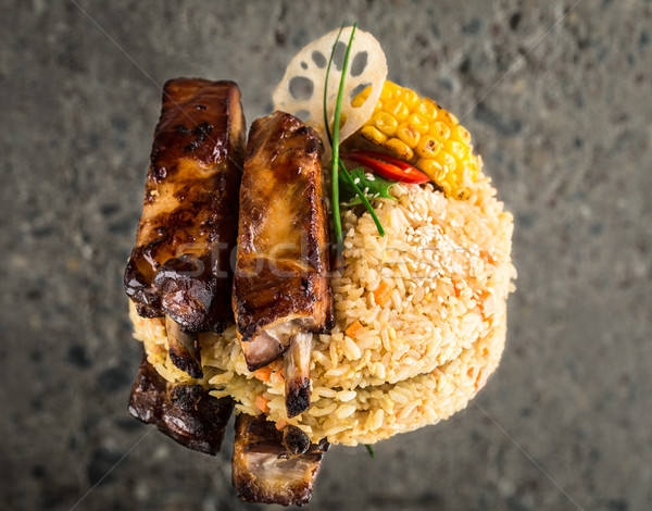 Chinese fried rice with ribs Stock photo © vankad