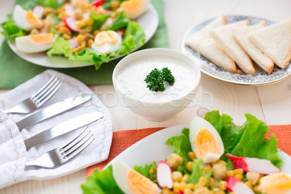 Kahvaltı iki sebze salata sos hizmet Stok fotoğraf © vankad