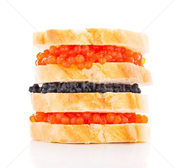 Nagy szendvics fekete piros kaviár fehér Stock fotó © vankad