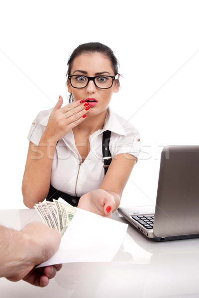 Busines woman taking bribe Stock photo © vankad