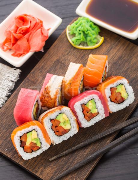 радуга суши катиться лосося тунца угорь Сток-фото © vankad