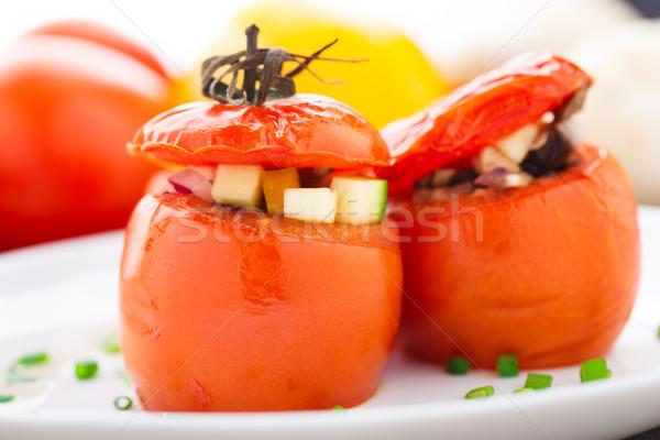 Três recheado tomates branco prato delicioso Foto stock © vankad
