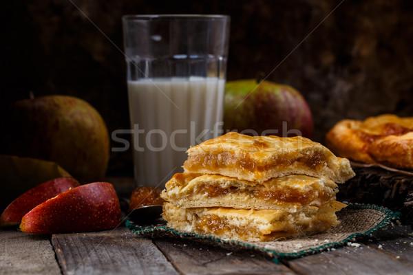 Házi készítésű almás pite finom pite töltött alma Stock fotó © vankad