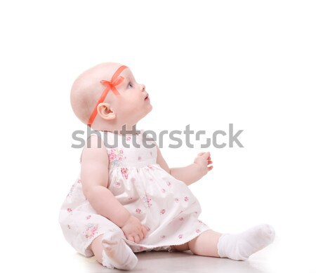 Cute baby zoete naar iets Stockfoto © vankad
