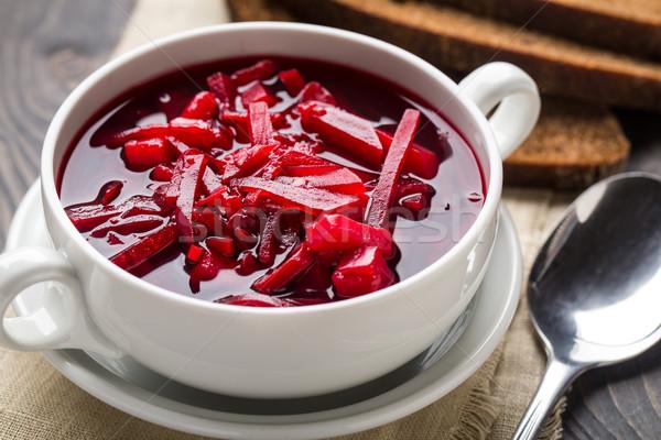Tál piros cékla leves vegetáriánus fehér Stock fotó © vankad