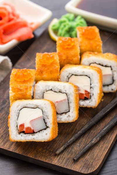 Stock photo: Fried sushi roll with shrimp and caviar