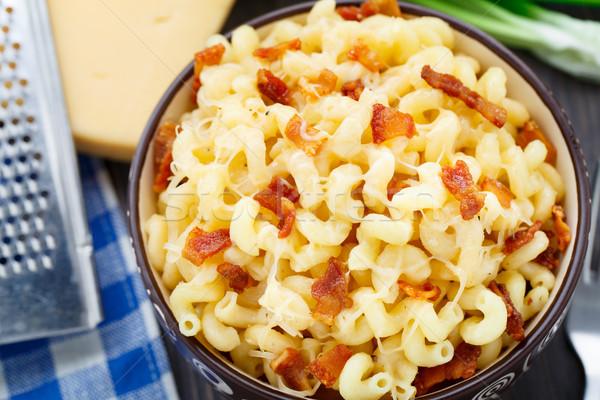 Mac queijo bacon delicioso tigela comida Foto stock © vankad