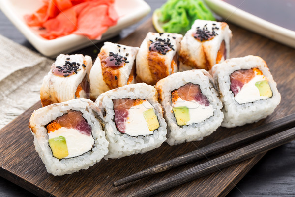 Sushi rotolare salmone tonno anguilla alimentare Foto d'archivio © vankad