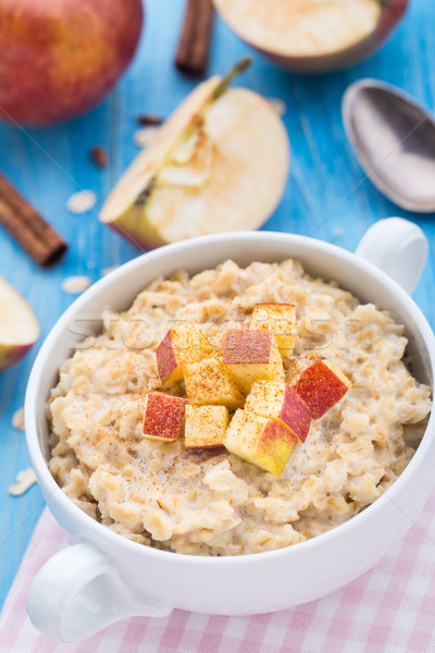Stock photo: Tasty oatmeal with apples and cinnamon