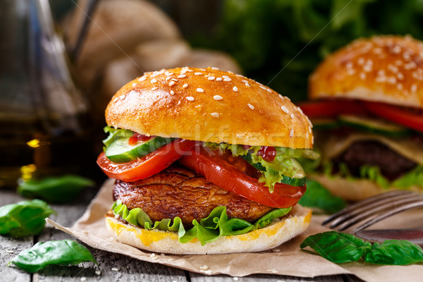 Vegetarian burger with grilled champignon  Stock photo © vankad