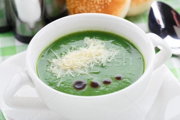 Tál brokkoli leves finom asztal zöld Stock fotó © vankad