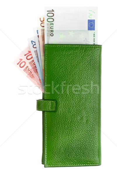 Open groene leder portemonnee geld business Stockfoto © vankad