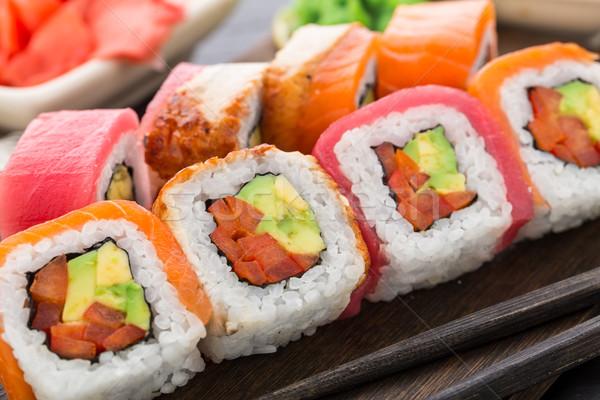 Arco iris sushi rodar salmón atún anguila Foto stock © vankad