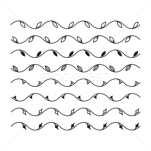 Wavy line with leaves for design. Set of vector borders and line Stock photo © Vanzyst