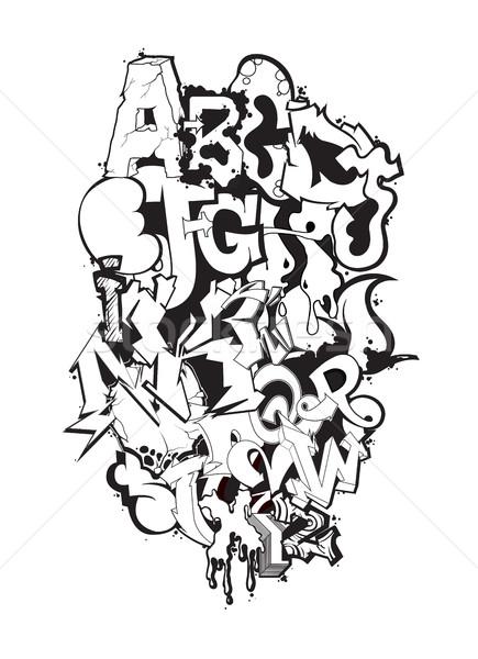 Graffiti doopvont zwart wit moderne kunst decoratief Stockfoto © Vanzyst