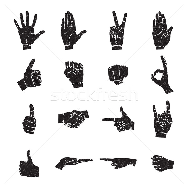 Hand icon collection, vector silhouette illustration Stock photo © Vanzyst