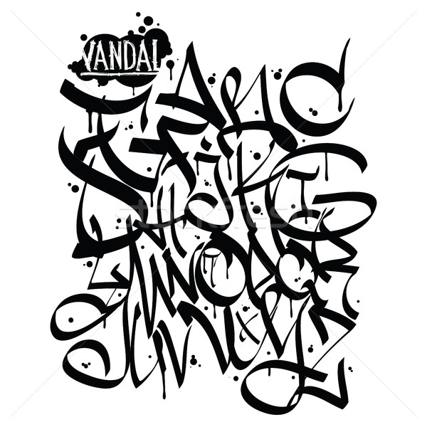 Font graffiti vandal Stock photo © Vanzyst