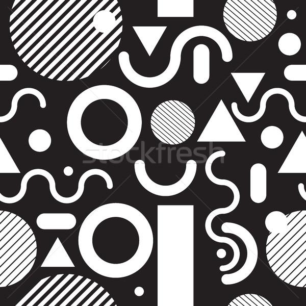 Moda czarno białe nowoczesne proste geometryczny Zdjęcia stock © Vanzyst