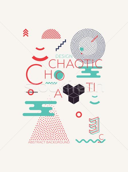Chaotisch meetkundig abstract ingesteld trillend kleuren Stockfoto © Vanzyst