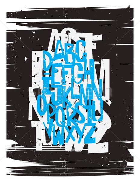 Гранж алфавит письма ретро-стиле стороны рисунок Сток-фото © Vanzyst