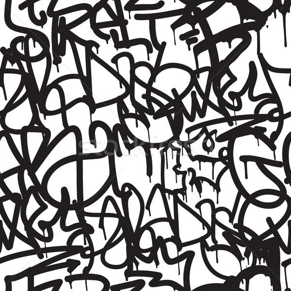 Graffiti végtelen minta vektor címkék ír kéz Stock fotó © Vanzyst