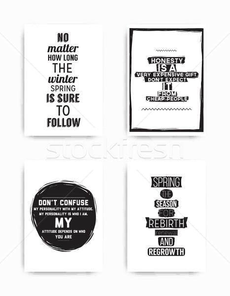 Zestaw plakaty zacytować cztery popularny Zdjęcia stock © Vanzyst