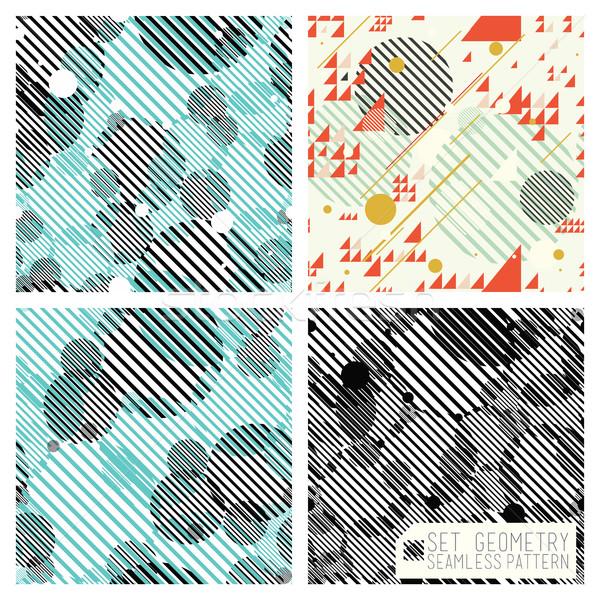 Ingesteld geometrisch patroon meetkundig composities kleurrijk Stockfoto © Vanzyst