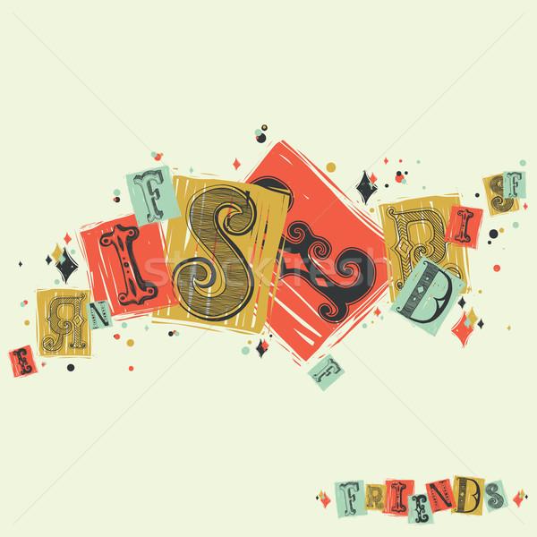 Decoratief fonts vrienden typografisch barok stijl Stockfoto © Vanzyst