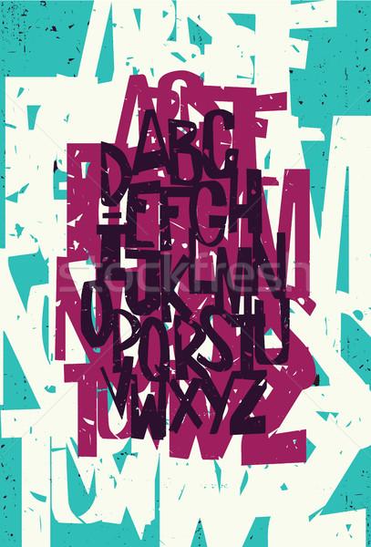 красочный стороны рисунок Гранж алфавит школы Сток-фото © Vanzyst