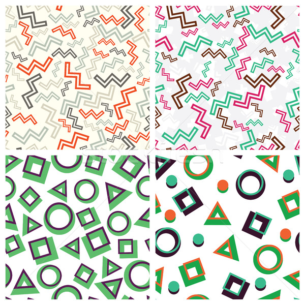 flat simple geometric shapes in seamless pattern fixated Stock photo © Vanzyst