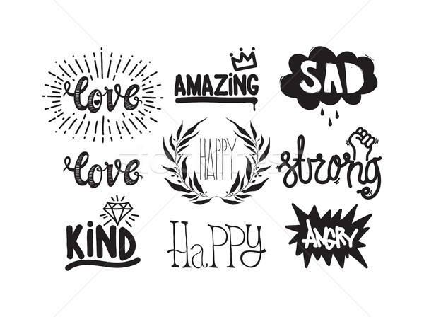 Color inspirational vector illustration set, motivational quotes Stock photo © Vanzyst